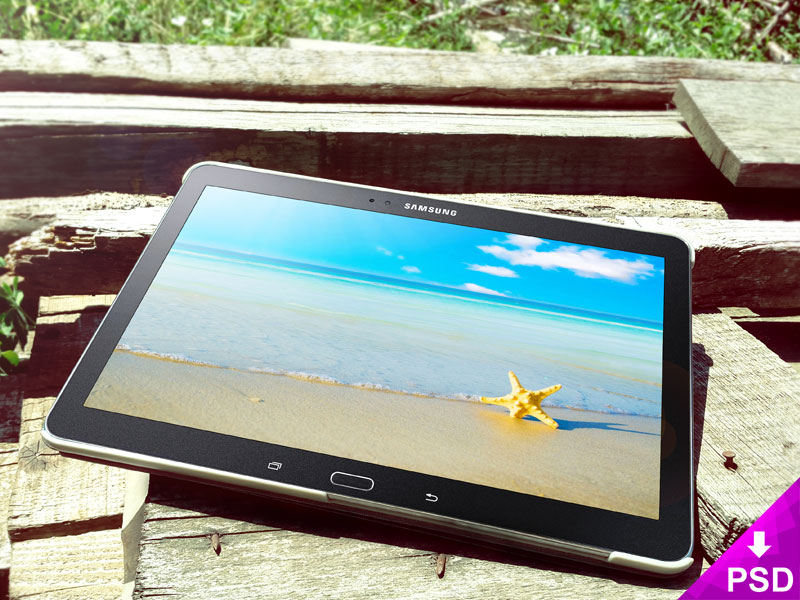 Samsung Galaxy Tab 5 Wood Mockup freebie