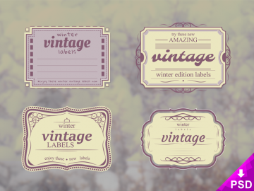 Set of 4 Vintage Winter Labels