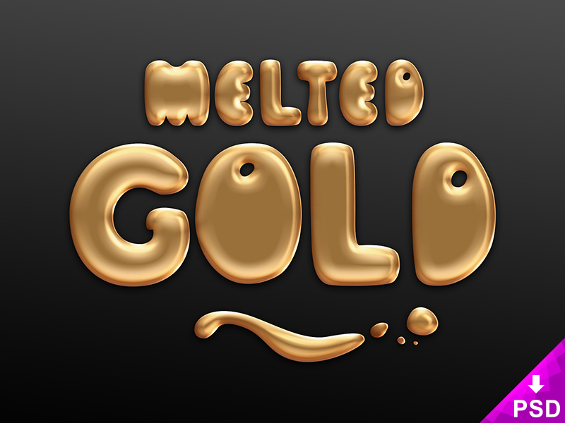 Melted Gold Text Style
