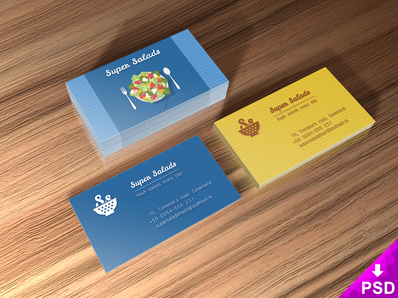 Super Salads Business Cards Mockup